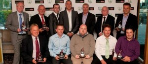 Bottom row, to the left, Edd Kealy & Dave Hooper pose with the award.
