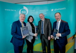 "18/02/2020 NO REPRO FEE, MAXWELLS DUBLIN BAI signs contract with Near FM. Pic shows ( l to r ) David O'Connor, secretary, Near FM, Sabrina Ryan, Committee of Management member, Prof. Pauric Travers, BAI chairperson and Michael O'Keeffe, BAI chief executive. The Broadcasting Authority of Ireland (BAI) has today (19.02.20) announced the signing of a community sound broadcasting contract with Dublin North East Community Communications Cooperative Society Limited t/a Near FM, serving North East Dublin.   Speaking at the contract signing, chief executive of the BAI, Michael O'Keeffe, said: ""We are delighted to sign a new community radio contract with Near FM. Community radio plays an important role in facilitating active citizenship, and today's contract signing marks Near FM's continued commitment to represent and engage with its North East Dublin community, and to promote the participation of its members in radio. I would like to wish the station continued success over the term of its new contract."" The new contract will begin on 1st of March 2020. The BAI was represented at the contract signing by BAI chairperson, Prof. Pauric Travers, and BAI chief executive, Michael O'Keeffe. Near FM was represented by Committee of Management member, Sabrina Ryan, and secretary, David O'Connor. Media contact: Sebastian Enke, DHR Communications, Tel: 01-4200580 / 087-3239496. All other queries: contact the BAI at 01-6441200 or info@bai.ie  PIC: NO FEE, MAXWELLPHOTOGRAPHY.IE"
